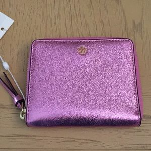 Tory Burch Metallic Pink Leather Wallet. NWT